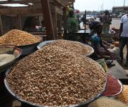 ,…………. Foodstuffs are displayed at 'Oja Oba' market in Ilorin metropolis in Nigeria's central state of Kwara, November 6, 2012.