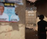 An inscription tagged 'Soweto Area' is written on a wall in a slum near the Moday market in Kakuri district in Nigeria's northern city of Kaduna November  12, 2012.