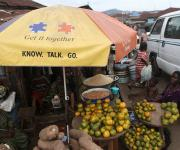 An umbrella promoting family planning is spotted at a roadside market in Mapo district in Ibadan, South-west, Nigeria November 7, 2012.