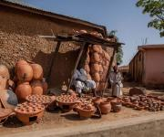 A local pottery dealer in Zaria