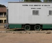 A mobile clinic truck is parked at the state ministry of health in Nigeria's northern city of Kaduna, November  12, 2012.